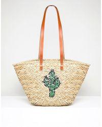 Vincent Pradier - Cactus Structured Straw Beach Bag - Lyst