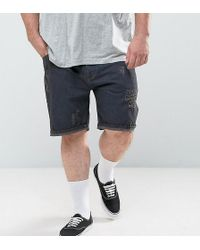 ASOS - Plus Slim Denim Shorts In Black With Rips - Lyst