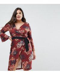 Closet London Plus - Allover Floral Wrap Pencil Dress With Belt - Lyst