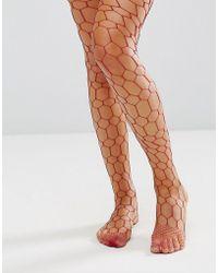 2c08dc97a6dce ASOS Asos Fishnet Bow Strap Ankle Socks in Black - Lyst