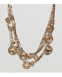 ASOS - Asos Design Curve Statement Coin And Chunky Chain Multirow Necklace - Lyst