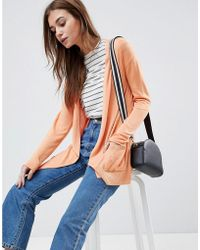 ASOS - Design Cardigan In Fine Knit With Rib Detail - Lyst