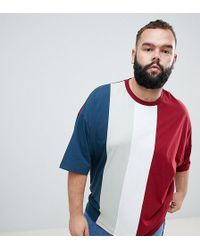 ASOS - Plus Oversized T-shirt With Vertical Colourblock In Burgundy - Lyst
