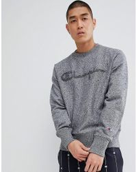 Champion - Reverse Weave Sweatshirt With Large Script Logo In Grey - Lyst
