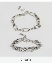 ASOS - Design Pack Of 2 Bracelets In Heavyweight Chain In Silver - Lyst
