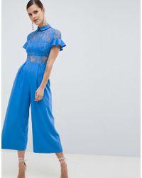 ASOS - Design Lace Top Jumpsuit With Culotte Leg - Lyst