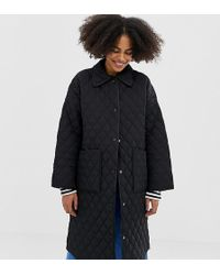 Monki - Quilted Long Line Jacket In Black - Lyst