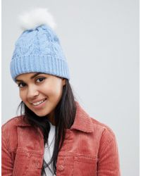 Oasis - Cable Knit Beanie With Fur Pom Pom In Blue - Lyst