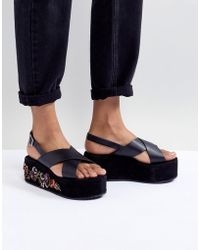 Glamorous - Black Embroidered Flatform Sandals - Lyst