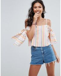 ASOS - Cold Shoulder Top Seersucker Multi Gingham - Lyst