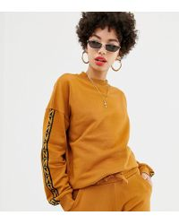 NA-KD - Sweatshirt With Taped Detail In Brown Co-ord - Lyst