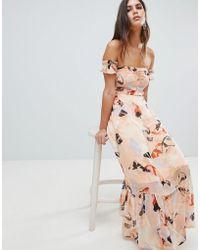 Y.A.S - Brush Print Bardot Midi Dress With Ruffle Hem - Lyst