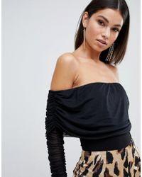 Club L - Ruched Bardot Long Sleeve Body - Lyst