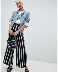 Pieces - Stripe Wide Leg Paper Bag Pants - Lyst