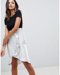 AX Paris - Bardot Wrap Front Dress With Frill Detail - Lyst