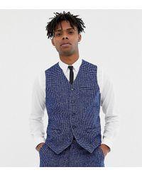 Heart & Dagger - Skinny Fit Suit Waistcoat In Blue Dogstooth - Lyst