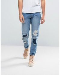 WÅVEN - Tapered Fit Jeans In Quarry Blue With Patchwork - Lyst