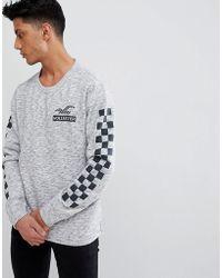 Hollister - Checkerboard Sleeve Crewneck Sweatshirt In Grey Marl - Lyst