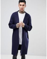 ASOS - Longline Knitted Duster Jacket In Navy - Lyst