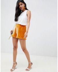 ASOS DESIGN - Velvet Shorts With Ruffle Hem - Lyst