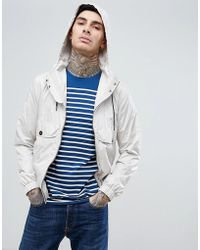 Pretty Green - Cardwell Zip Through Hooded Jacket In Stone - Lyst