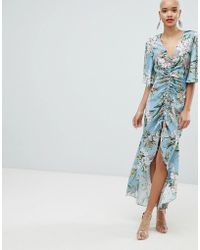 River Island - Ruched Front Floral Print Maxi Dress - Lyst