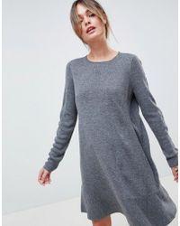 ASOS - Dress In Fine Knit With Ruffle Hem - Lyst