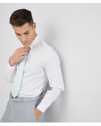 ASOS - Design Wedding Slim White Shirt And Textured Mint Tie Save - Lyst