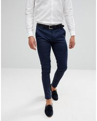 ASOS - Wedding Super Skinny Trousers In Navy Cotton Sateen - Lyst