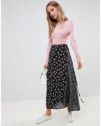 Liquorish - Mix And Match Floral And Spot Print Wrap Skirt - Lyst