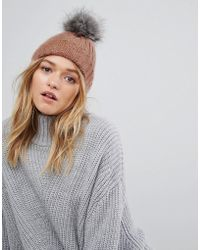 Pieces | Pom Beanie In Rose | Lyst
