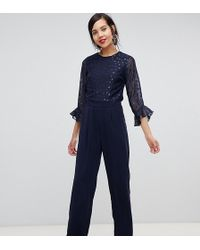 c39e3caf45d Lyst - Y.A.S Lacey Long Sleeve Jumpsuit With Lace Side Panels in Black