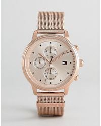 Tommy Hilfiger - 1781907 Chronograph Mesh Watch In Rose Gold 38mm - Lyst