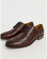 River Island - Leather Brogues In Dark Brown - Lyst