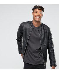 Barneys Originals - Tall Faux Leather Ribbed Biker Jacket - Lyst