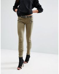 Replay - Biker Jeans With Zip Detail - Lyst