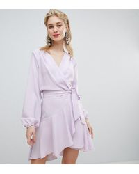 Flounce London - Wrap Front Mini Dress In Lilac - Lyst