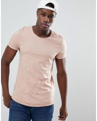 Esprit - Longline T-shirt With Raw Curved Hem In Dusty Pink - Lyst