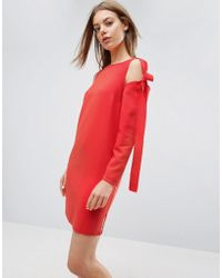 ASOS - Cold Shoulder Shift Dress With Bow Detail - Lyst