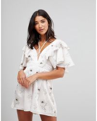 Oh My Love - Satin Plunge Playsuit With Frill Sleeves - Lyst