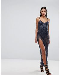 Naanaa - Cami Maxi Dress With Thigh Split In Sequin - Lyst