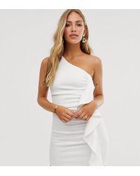 True Violet - One Shoulder Frill Mini Bodycon Dress - Lyst
