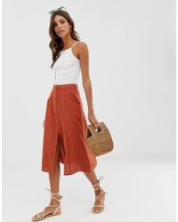 ASOS Midi Skirt With Button Front