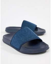 ASOS - Design Sliders In Navy Towelling - Lyst