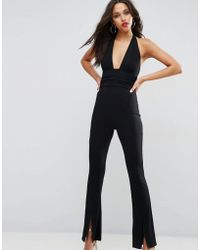 ASOS DESIGN - Asos Jersey Jumpsuit With Halter Neck And Plunge Detail - Lyst