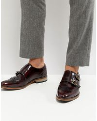 ASOS - Asos Monk Shoes In Burgundy Leather With Natural Sole - Lyst