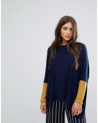 Traffic People - Slouchy Jumper With Contrast Sleeves - Lyst