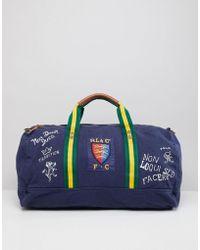 Polo Ralph Lauren - Canvas Large Player Logo Duffel Bag In Navy - Lyst