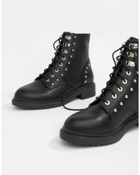 Miss Selfridge - Lace Up Military Boots With Stud Detail In Black - Lyst