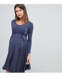 224eb5f9592d6 Bluebelle Maternity - Nursing Long Sleeve Wrap Front Midi Dress In Blue -  Lyst